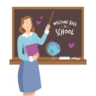De leraar heet terug naar school welkom