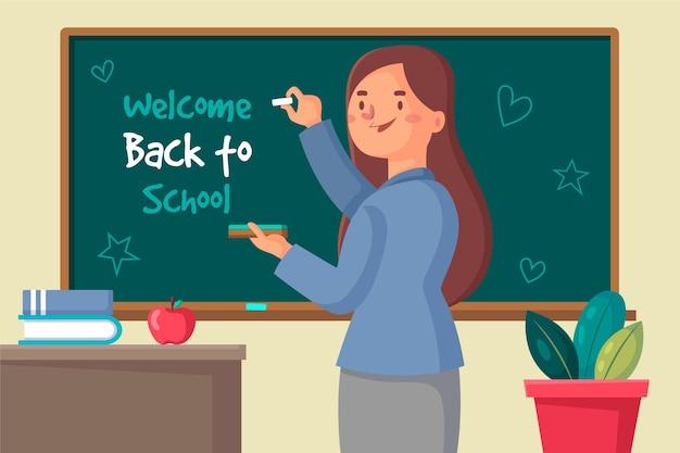 De leraar heet terug naar schoolontwerp welkom