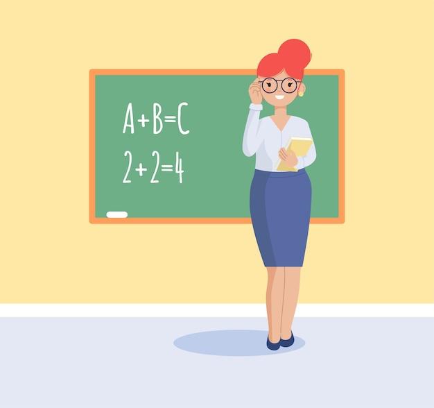 De leraar staat bij het bord met een boek. vlakke afbeelding.