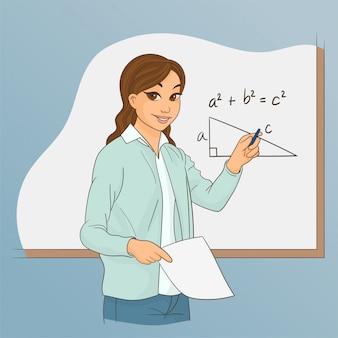 De leraar van math legt de rekenkunde uit