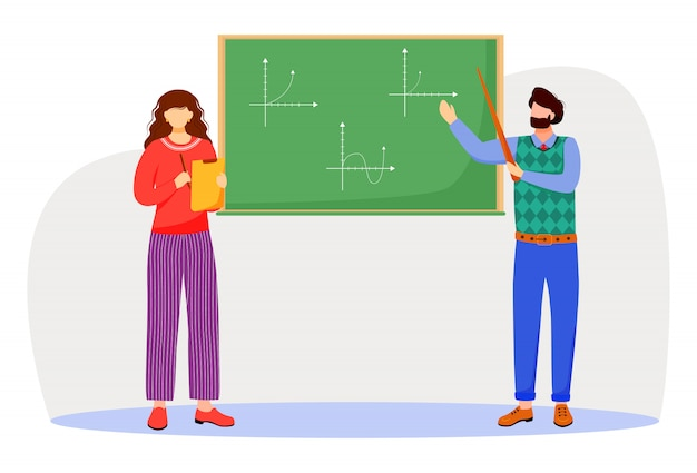 De leraar verklaart wiskundegrafieken op bord vlakke illustratie. studeerproces op universiteit, school. wiskunde leren. professor en student geïsoleerde stripfiguren op witte achtergrond