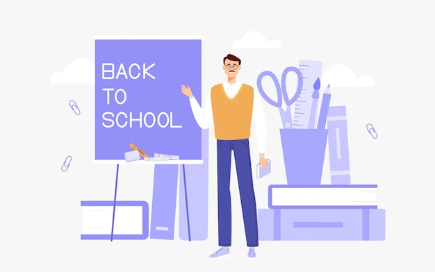 De leraar verwelkomt studenten op school of universiteit. mannelijke leraar leidt lessen voor scholieren of studenten.