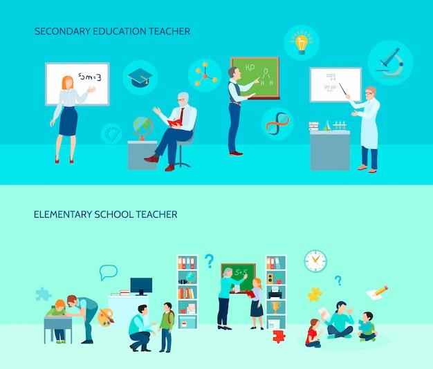 De leraren van het basis en secundair onderwijsschool in klaslokaal 2 vlakke horizontale banners als achtergrond plaatsen geïsoleerde vectorillustratie
