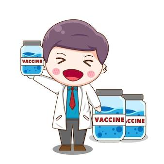 De leuke arts vindt vaccin dat op wit wordt geïsoleerd