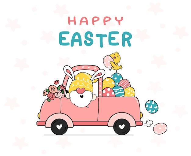 De leuke cartoon van de konijntjesgnome en de gele illustratie van het kuikenbaby