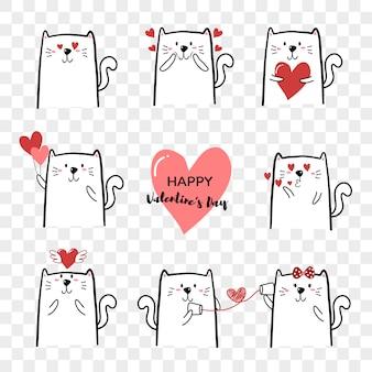 De leuke die hand van het kattenbeeldverhaal voor de dag van valentine wordt getrokken