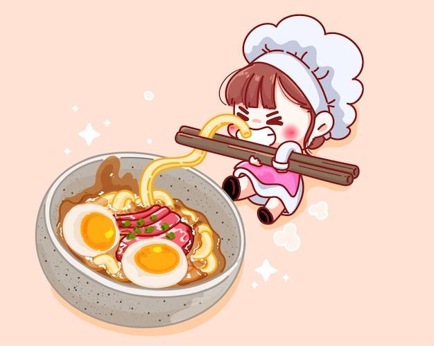 De leuke eetstokjes van de chef-kokholding met noedels dichtbij de illustratie van het soepbeeldverhaal