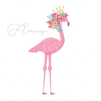 De leuke flamingo met bloemen overhandigt getrokken illustratie
