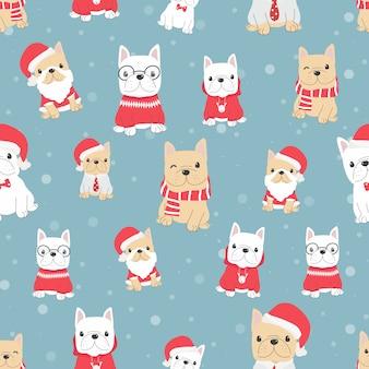 De leuke franse hond van het buldogpuppy in het naadloze patroon van het kerstmiskostuum