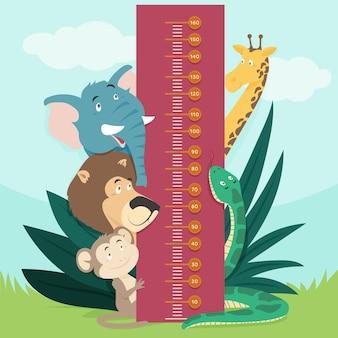De leuke geïllustreerde meter van de cartoonhoogte