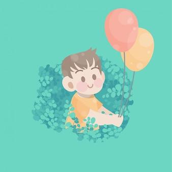 De leuke gelukkige ballon van het jong geitjespel vreugdevol vector