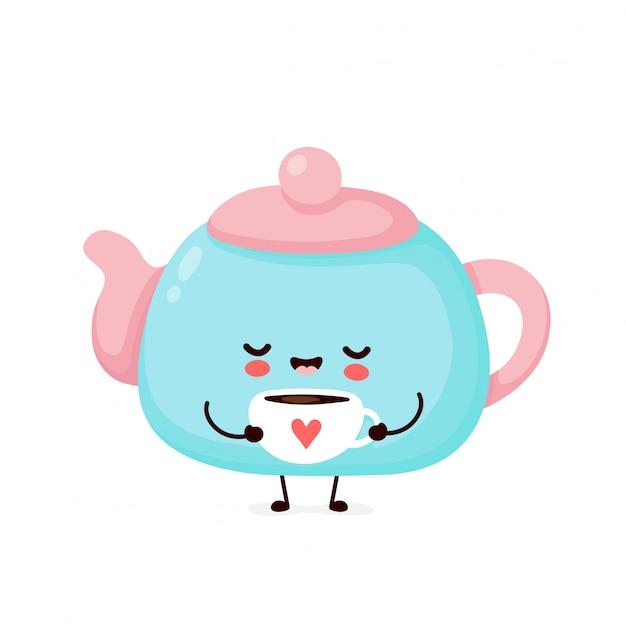 De leuke gelukkige het glimlachen mok van de theepotgreep met hart.
