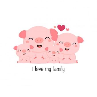 De leuke gelukkige varkensfamilie zegt