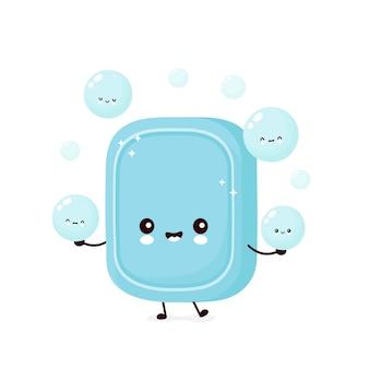 De leuke gelukkige zeep jongleert met schuimbel