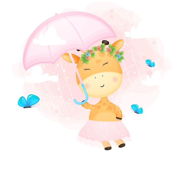 De leuke giraf die van de krabbelbaby in de lucht met paraplu vliegt. babyshower
