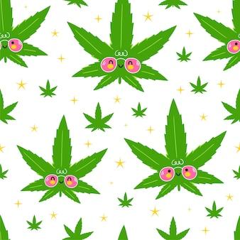 De leuke grappige gelukkige onkruidmarihuana doorbladert en sterren naadloos patroon.