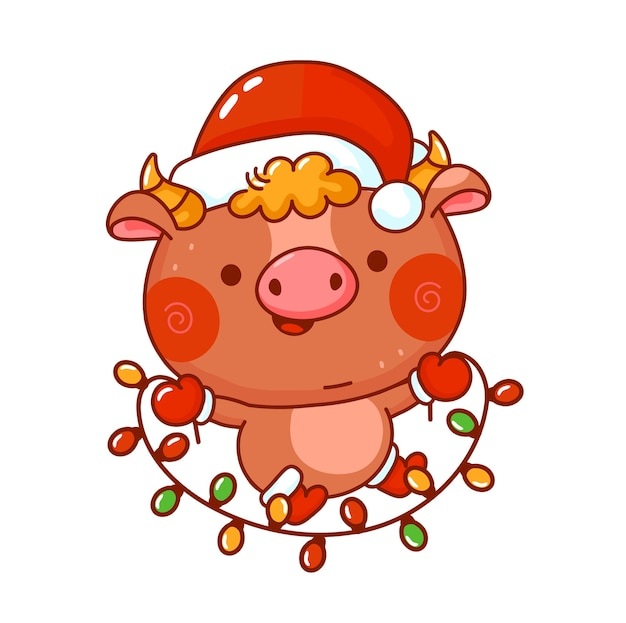De leuke grappige stier van het nieuwjaarsymbool in het karakter van kerstmisglb.