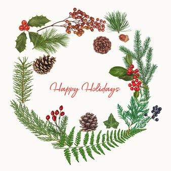 De leuke hand getrokken decoratie van kerstmis