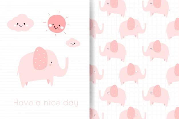 De leuke hand van de pastelkleur roze olifant trekt cartoonkaart en naadloos patroon