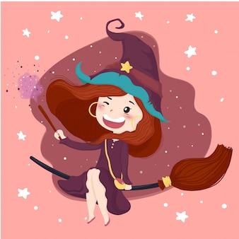 De leuke heks met magische stokhalloween-achtergrond in purpere kleding berijdt een bloei, vlak vectorkarakter