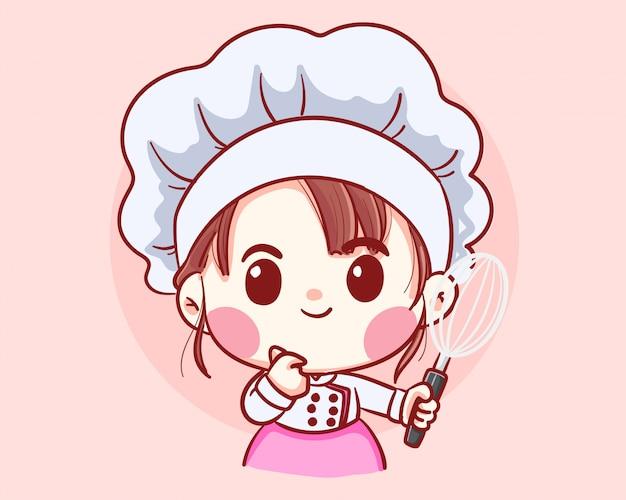 De leuke het meisjesholding van de bakkerijchef-kok zwaait de illustratie van de beeldverhaalkunst
