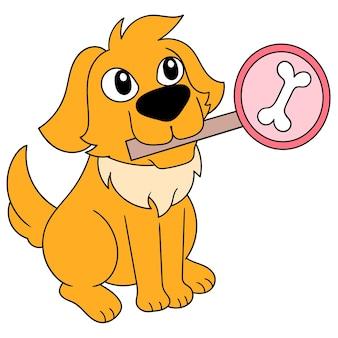 De leuke hond draagt een beenteken in zijn mond, vectorillustratieart. doodle pictogram afbeelding kawaii.