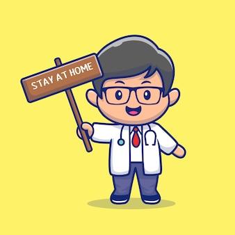 De leuke illustratie van artsenverblijf thuis pictogram.