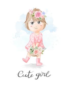 De leuke illustratie van de mand van het meisje dragende bloemen