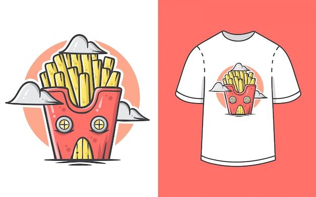De leuke illustratie van het frietenhuis voor t-shirtontwerp