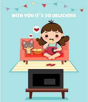 De leuke jongen met hond geniet van etend snack terwijl het letten op televisie
