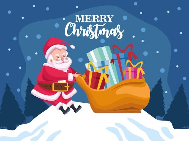 De leuke kerstman met het karakter van de giftenzak in de illustratie van de sneeuwscène