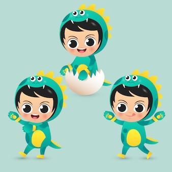 De leuke kinderen dragen de illustratievector van het dinosauruskostuum