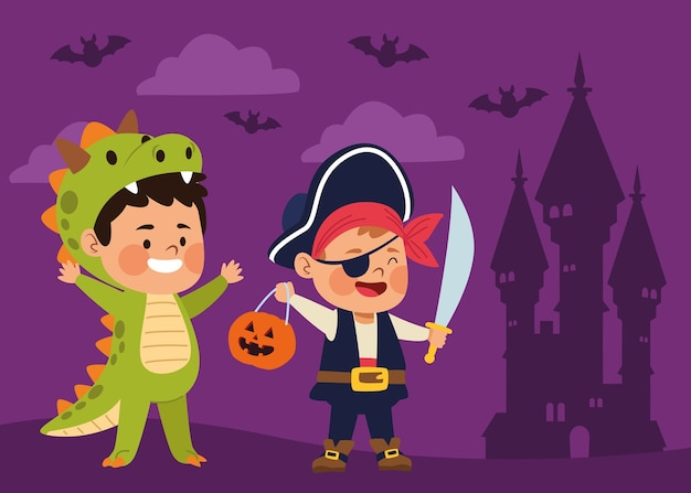 De leuke kleine jongens kleedden zich als ontwerp van de piraat en van de dinosaurus vectorillustratie