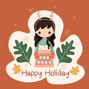 De leuke koekjes van de de sneeuwmansuiker van het meisjesbaksel voor kerstmis en vakantiegebeurtenis