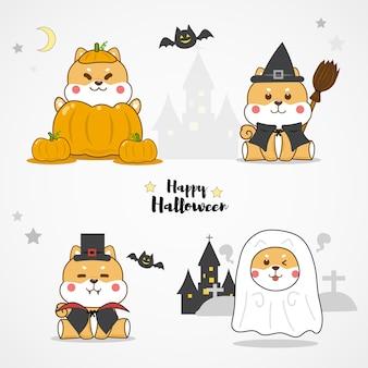 De leuke kostuums van halloween van de shibainu hond