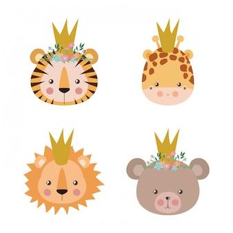 De leuke leeuw van de tijgiraf en draagt beeldverhaalontwerp, dierlijke het karakterkarakter van het dierentuinleven aard en aanbiddelijke thema vectorillustratie