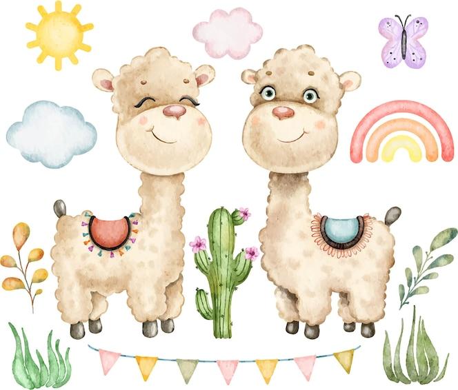 De leuke mooie grappige lama's cactussen verlaten regenboog en wolken die in waterverf worden geschilderd