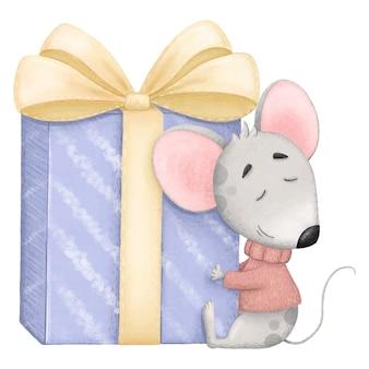 De leuke muis in sweater koestert giftillustratie voor verjaardag