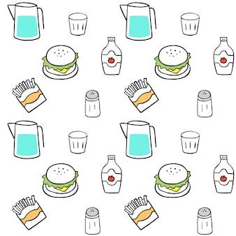 De leuke naadloze vector van het patroon snelle voedsel.