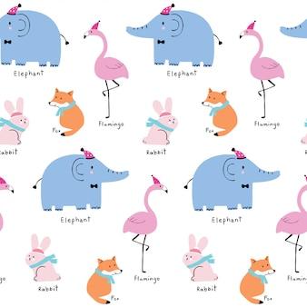 De leuke naadloze vector van patroon kleurrijke dieren.