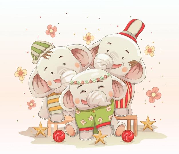 De leuke olifantsfamilie viert samen kerstmis. vector hand getekend cartoon kunststijl