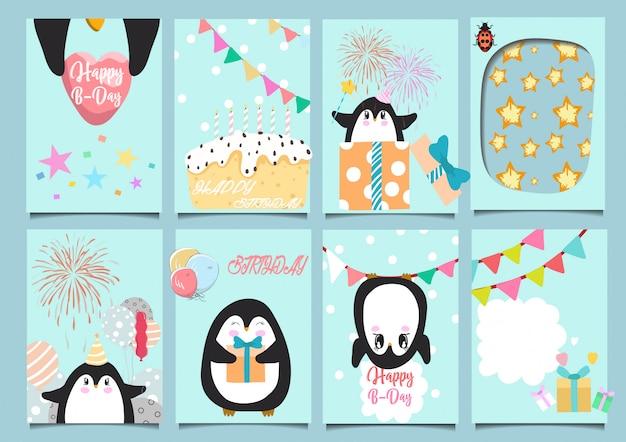 De leuke partij van de het beeldverhaalhand getrokken verjaardag van de baby dierlijke kaart