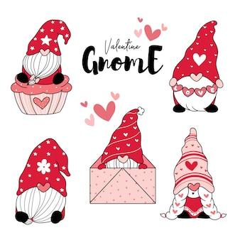De leuke rode valentijnskaart van de gnoom van de liefde met hartbeeldverhaal