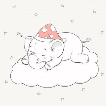 De leuke slaap van de babyolifant op de getrokken hand van het wolkenbeeldverhaal
