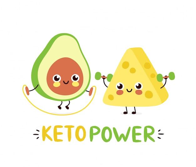 De leuke sterke glimlachende gelukkige avocado en de kaas maken gymnastiek.