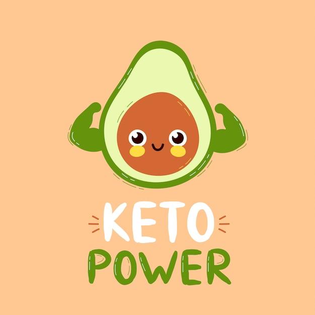 De leuke sterke glimlachende gelukkige avocado toont spierbiceps. keto power card design. platte cartoon karakter illustratie pictogram ontwerp. geïsoleerd op een witte achtergrond. concept van de avocado karakter
