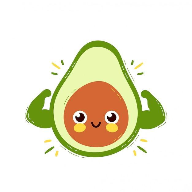 De leuke sterke glimlachende gelukkige avocado toont spierbiceps