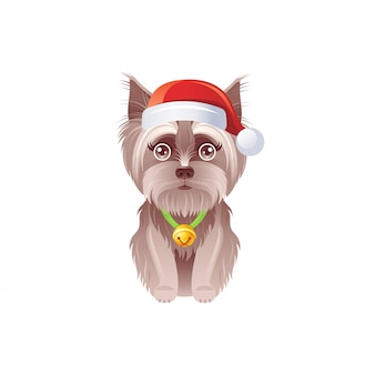 De leuke terriër van yorkshire in kerstmanhoed met kenwijsjeklok. cartoon kerst hond.