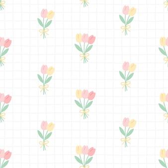 De leuke tulp bloeit naadloze patroonachtergrond