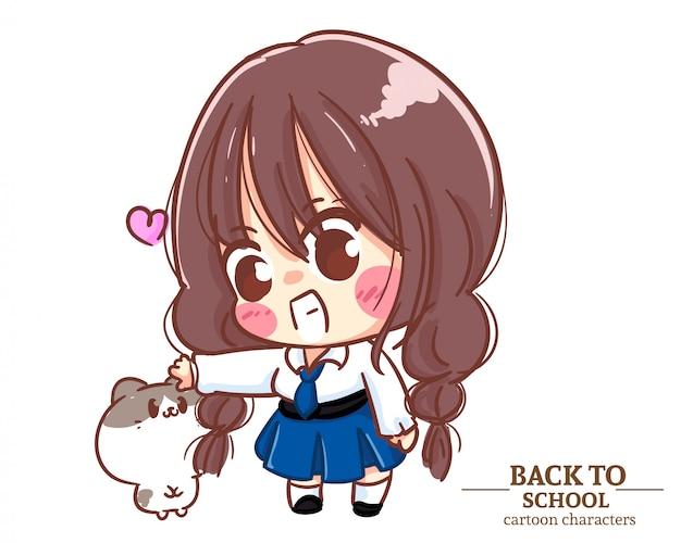 De leuke uniformen van de meisjeskinderen en een kat terug naar school. cartoon illustratie premium vector